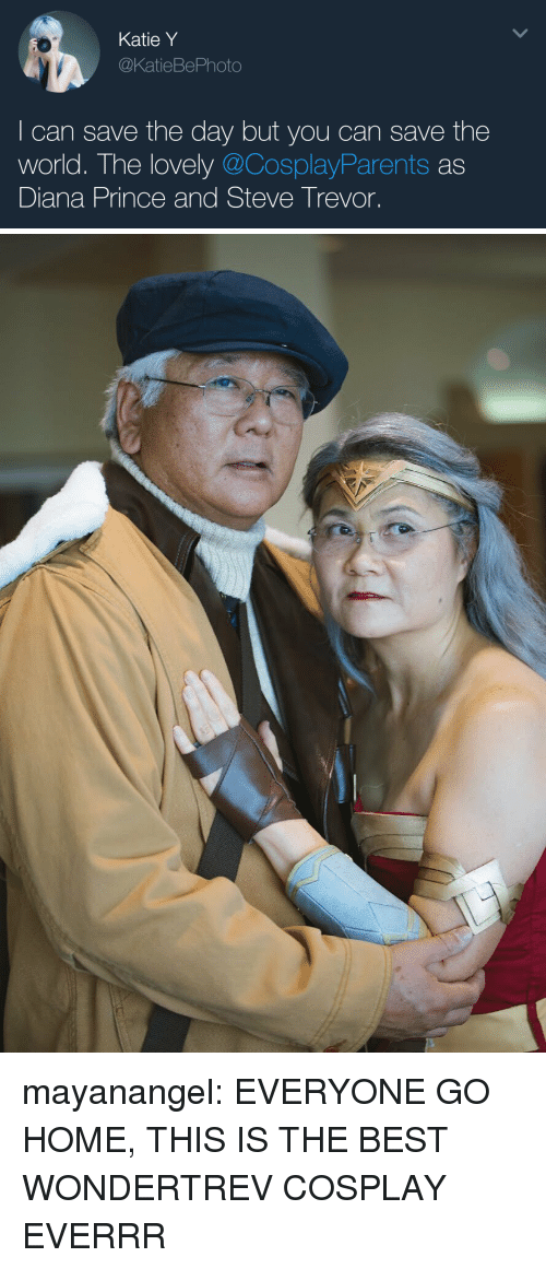 save-the-day: Katie Y  @KatieBePhoto  I can save the day but you can save the  world. The lovely @CosplayParents as  Diana Prince and Steve Trevor. mayanangel:  EVERYONE GO HOME, THIS IS THE BEST WONDERTREV COSPLAY EVERRR