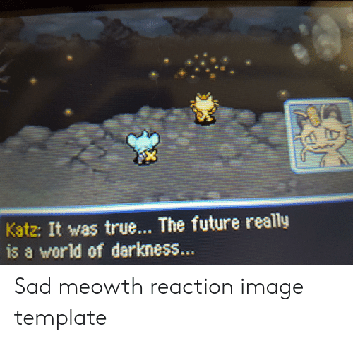 world of darkness: Katz: It was true... The future really  is a world of darkness... Sad meowth reaction image template