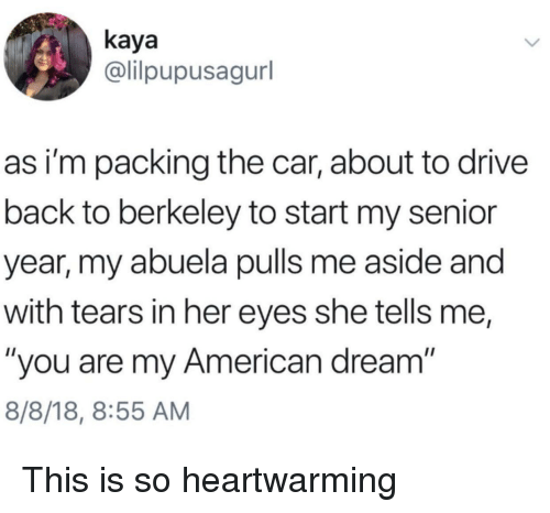 """American Dream: kaya  @lilpupusagurl  as i'm packing the car, about to drive  back to berkeley to start my senior  year, my abuela pulls me aside and  with tears in her eyes she tells me,  """"you are my American dream  8/8/18, 8:55 AM This is so heartwarming"""