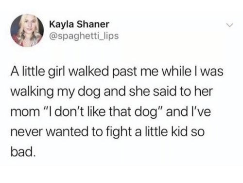 """Kayla: Kayla Shaner  @spaghetti_ lips  A little girl walked past me while I was  walking my dog and she said to her  mom """"l don't like that dog"""" and I've  never wanted to fight a little kid so  bad."""