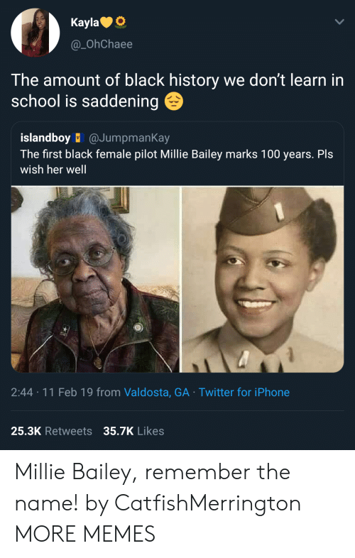 remember the name: KaylaO  @_OhChaee  The amount of black history we don't learn in  school is saddening  islandboy @JumpmanKay  The first black female pilot Millie Bailey marks 100 years. Pls  wish her well  2:44 11 Feb 19 from Valdosta, GA Twitter for iPhone  25.3K Retweets 35.7K  Likes Millie Bailey, remember the name! by CatfishMerrington MORE MEMES