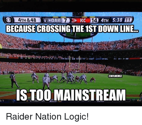 NFL: KC 14 4TH 5:38  4TH &48  BECAUSECROSSINGTHE 1ST DOWN LINE  ONFLMEMEL  IS TOO MAINSTREAM Raider Nation Logic!