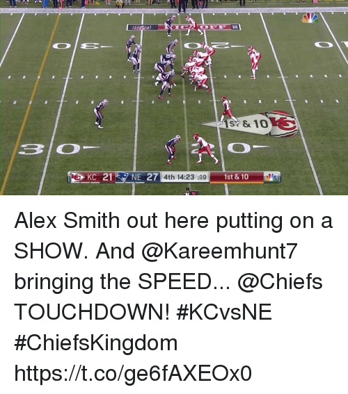 Memes, Chiefs, and Alex Smith: KC 21NE 27  4th 14:23 :09  1st &10 Alex Smith out here putting on a SHOW. And @Kareemhunt7 bringing the SPEED...  @Chiefs TOUCHDOWN! #KCvsNE #ChiefsKingdom https://t.co/ge6fAXEOx0
