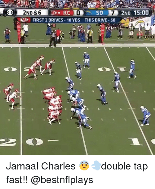 Jamaal Charles: KC  SD 2ND 15:00  2ND &6  RG FIRST 2 DRIVES 18 YDS THIS DRIVE-50 Jamaal Charles 😨💨double tap fast!! @bestnflplays