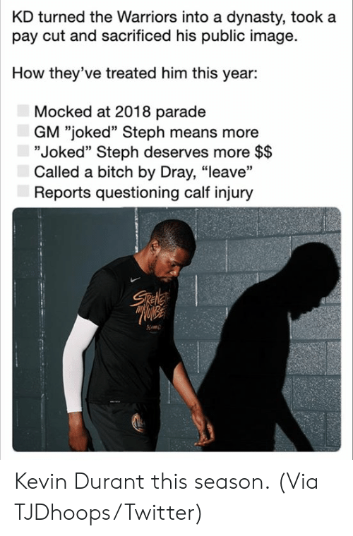 "durant: KD turned the Warriors into a dynasty, took a  pay cut and sacrificed his public image  How they've treated him this year:  Mocked at 2018 parade  GM ""joked"" Steph means more  ""Joked"" Steph deserves more $$  Called a bitch by Dray, ""leave""  Reports questioning calf injury  Sele Kevin Durant this season.  (Via TJDhoops/Twitter)"