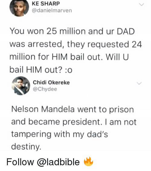 Dad, Destiny, and Memes: KE SHARP  @danielmarven  You won 25 million and ur DAD  was arrested, they requested 24  million for HIM bail out. Will U  bail HIM out?:o  Chidi Okereke  @Chydee  Nelson Mandela went to prison  and became president. I am not  tampering with my dad's  destiny. Follow @ladbible 🔥
