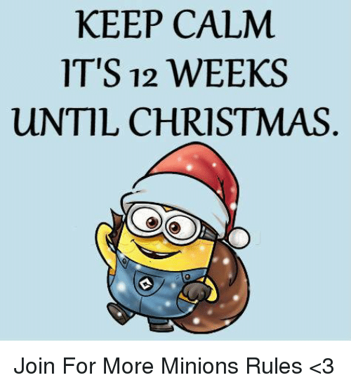 Funny: KEEP CALM  IT'S 12 WEEKS  uNTIL CHRISTMAS Join For More Minions Rules <3