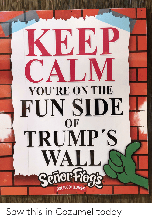 Trumps Wall: KEEP  CALM  YOU'RE ON THE  FUN SIDE  OF  TRUMP'S  WALL  Sertor Frogs  FUN, FOODE CLOTHES Saw this in Cozumel today
