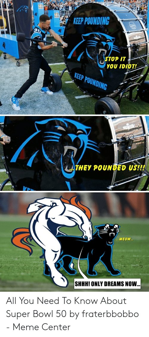 Fraterbbobbo: KEEP POUNDING  TOP IT  YOU IDIOT!  LTHEY POUNDED US!!!  MEOW  SHHH! ONLY DREAMS NOW All You Need To Know About Super Bowl 50 by fraterbbobbo - Meme Center