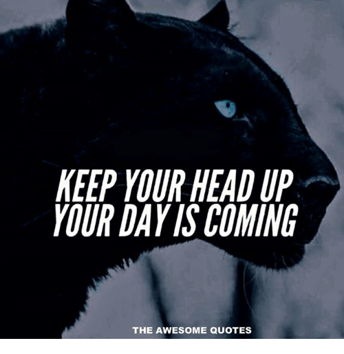 keep your head up: KEEP YOUR HEAD UP  YOUR DAYIS COMING  THE AWESOME QUOTES