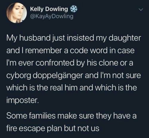 cyborg: Kelly Dowling  @KayAyDowling  My husband just insisted my daughter  and I remember a code word in case  I'm ever confronted by his clone or a  cyborg doppelgänger and I'm not sure  which is the real him and which is the  imposter.  Some families make sure they have a  fire escape plan but not us