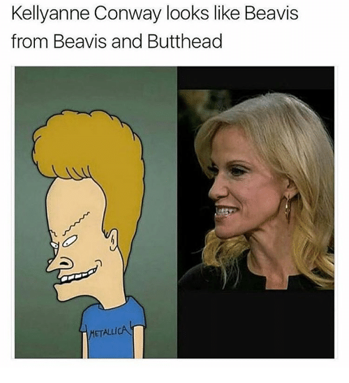 Conway, Memes, and Metallica: Kellyanne Conway looks like Beavis  from Beavis and Butthead  METALLICA