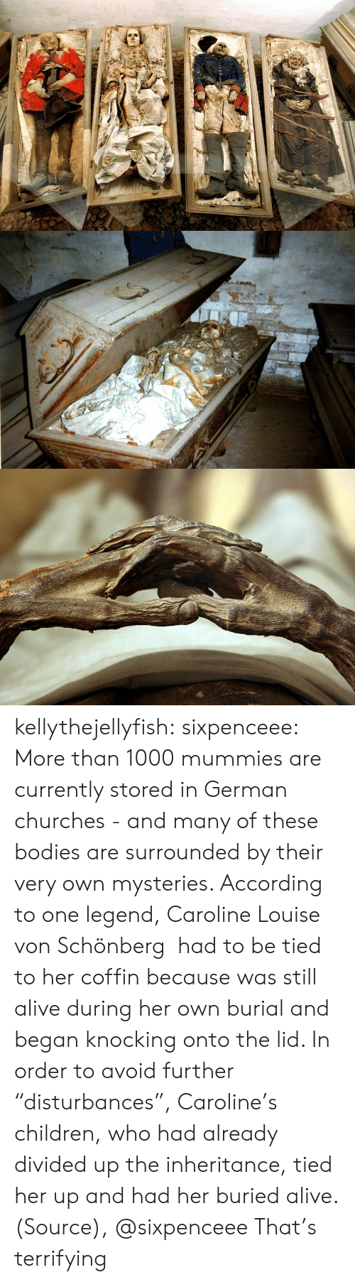 """caroline: kellythejellyfish: sixpenceee:  More than 1000 mummies are currently stored in German churches - and many of these bodies are surrounded by their very own mysteries. According to one legend, Caroline Louise von Schönberg had to be tied to her coffin because was still alive during her own burial and began knocking onto the lid. In order to avoid further """"disturbances"""", Caroline's children, who had already divided up the inheritance, tied her up and had her buried alive. (Source), @sixpenceee  That's terrifying"""