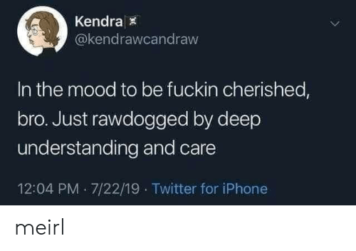kendra: Kendra  @kendrawcandraw  In the mood to be fuckin cherished,  bro. Just rawdogged by deep  understanding and care  12:04 PM 7/22/19 Twitter for iPhone meirl