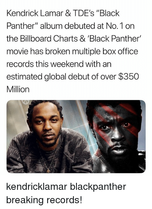"""debuted: Kendrick Lamar & TDE's """"Black  Panther"""" album debuted at No.1 on  the Billboard Charts & 'Black Panther'  movie has broken multiple box office  records this weekend with an  estimated global debut of over $350  Million kendricklamar blackpanther breaking records!"""