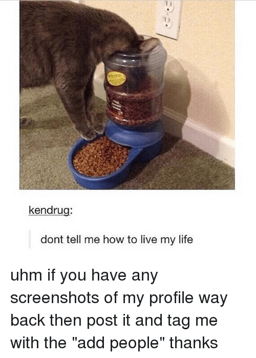 """Dont Tell Me How To Live My Life: kendru  dont tell me how to live my life uhm if you have any screenshots of my profile way back then post it and tag me with the """"add people"""" thanks"""