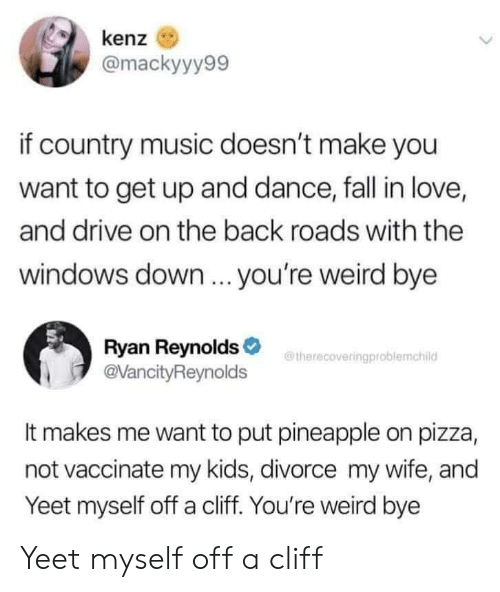 Ryan Reynolds: kenz  @mackyyy99  if country music doesn't make you  want to get up and dance, fall in love,  and drive on the back roads with the  windows down ... you're weird bye  Ryan Reynolds  @VancityReynolds  therecoveringproblemchild  It makes me want to put pineapple on pizza,  not vaccinate my kids, divorce my wife, and  Yeet myself off a cliff. You're weird bye Yeet myself off a cliff