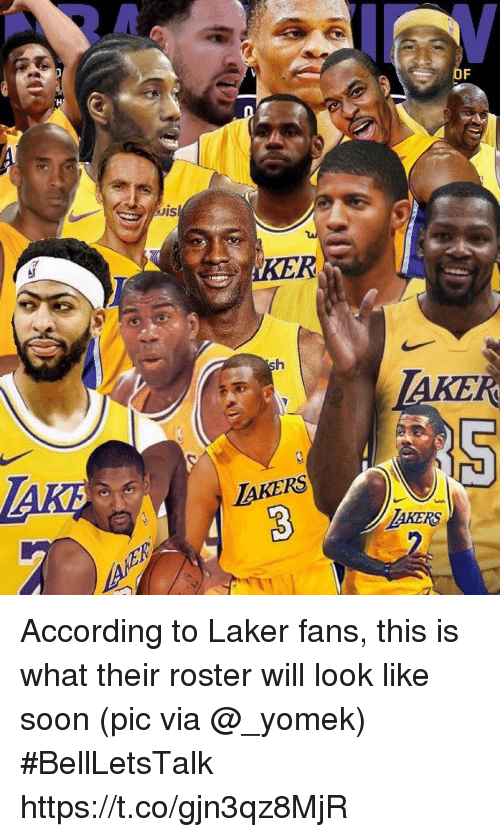 laker: KER  AKERS  AKERS According to Laker fans, this is what their roster will look like soon   (pic via @_yomek) #BellLetsTalk https://t.co/gjn3qz8MjR
