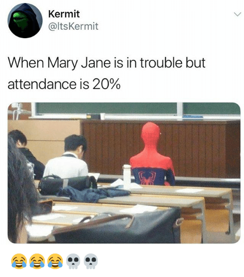 Mary Jane: Kermit  @ltsKermit  When Mary Jane is in trouble but  attendance is 20% 😂😂😂💀💀