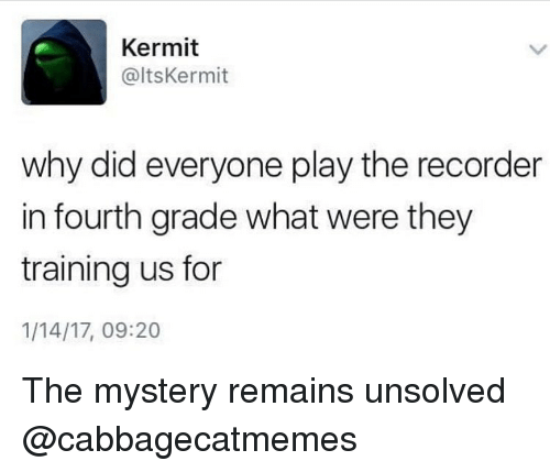 unsolved: Kermit  @ltsKermit  why did everyone play the recorder  in fourth grade what were they  training us for  1/14/17, 09:20 The mystery remains unsolved @cabbagecatmemes