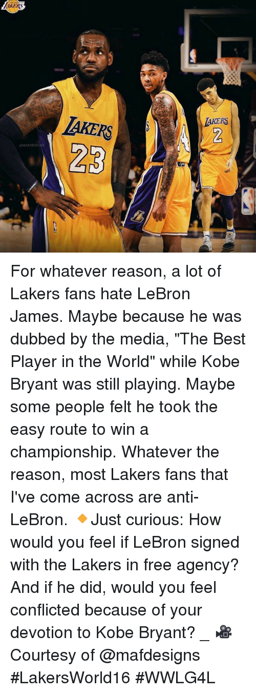 """devotion: KERS  JAKERS  MAFDESIGN For whatever reason, a lot of Lakers fans hate LeBron James. Maybe because he was dubbed by the media, """"The Best Player in the World"""" while Kobe Bryant was still playing. Maybe some people felt he took the easy route to win a championship. Whatever the reason, most Lakers fans that I've come across are anti-LeBron.   🔸Just curious: How would you feel if LeBron signed with the Lakers in free agency? And if he did, would you feel conflicted because of your devotion to Kobe Bryant?  _ 🎥 Courtesy of @mafdesigns  #LakersWorld16 #WWLG4L"""