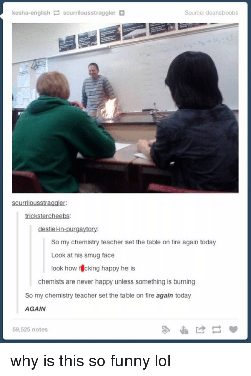 smug face: kesha-english  P scurrilousstraggler  Source: deansboobs  Scurrilousstraggler:  trickstercheebs:  destiel-in-purgaytory:  So my chemistry teacher set the table on fire again today  Look at his smug face  look how f cking happy he  is  chemists are never happy unless something is burning  So my chemistry teacher set the table on fire again today  AGAIN  59,525 notes why is this so funny lol