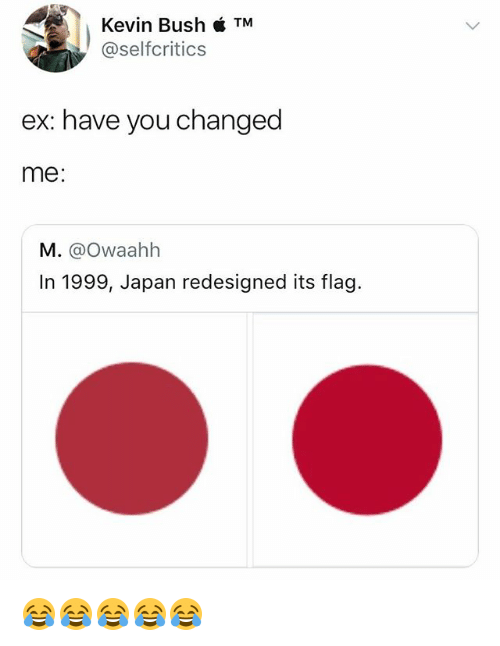 Japan, Girl Memes, and Bush: Kevin Bush TM  @selfcritics  ex: have you changed  me:  M. @Owaahh  In 1999, Japan redesigned its flag. 😂😂😂😂😂