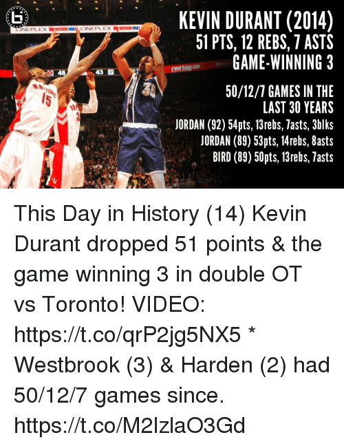 Kevin Durant, Memes, and The Game: KEVIN DURANT (2014)  51 PTS, 12 REBS, 7 ASTS  GAME-WINNING 3  LE  CINEPLEX srecn  CINEPLEX screce Sa  43 E  eatog.co  50/12/7 GAMES IN THE  LAST 30 YEARS  JORDAN (92) 54pts, 13rebs, lasts, 3hlks  JORDAN (89) 53pts, 14rebs, 8asts  BIRD (89) 50pts, 13rebs, Tasts  5 This Day in History (14) Kevin Durant dropped 51 points & the game winning 3 in double OT vs Toronto!   VIDEO: https://t.co/qrP2jg5NX5   * Westbrook (3) & Harden (2) had 50/12/7 games since. https://t.co/M2lzlaO3Gd