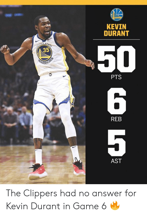 Clippers: KEVIN  DURANT  50  6  5  35  PTS  REB  AST The Clippers had no answer for Kevin Durant in Game 6 🔥