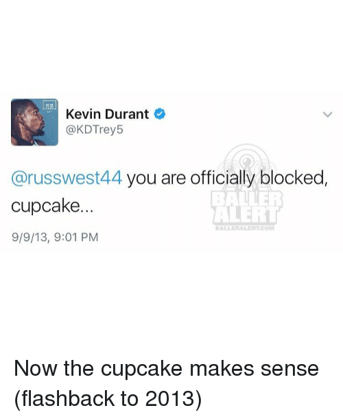 Kevin Durant, Memes, and Ballers: Kevin Durant  @KDTrey5  russwest44 you are officially blocked  BALLER  cupcake.  ALERT  9/9/13, 9:01 PM Now the cupcake makes sense (flashback to 2013)