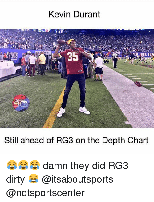 Kevin Durant, Rg3, and Sports: Kevin Durant  Still ahead of RG3 on the Depth Chart 😂😂😂 damn they did RG3 dirty 😂 @itsaboutsports @notsportscenter