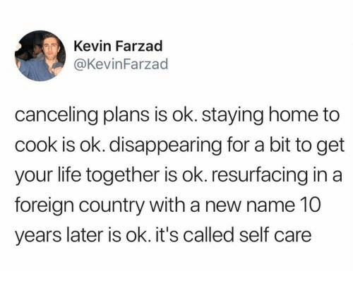 Staying Home: Kevin Farzad  @KevinFarzad  canceling plans is ok. staying home to  cook is ok. disappearing for a bit to get  your life together is ok. resurfacing in a  foreign country with a new name 10  years later is ok. it's called self care