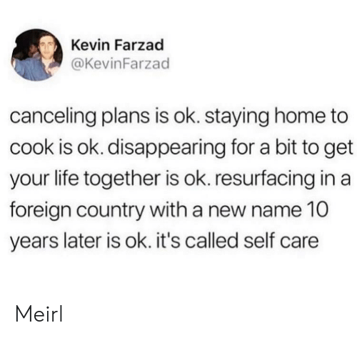 Staying Home: Kevin Farzad  @KevinFarzad  canceling plans is ok. staying home to  cook is ok. disappearing for a bit to get  your life together is ok. resurfacing in a  foreign country with a new name 10  years later is ok. it's called self care Meirl