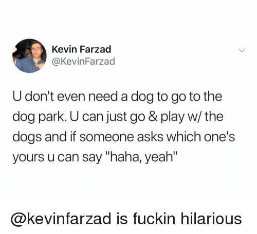 "Dog Park: Kevin Farzad  @KevinFarzad  U don't even need a dog to go to the  dog park. U can just go & play w/ the  dogs and if someone asks which one's  yours u can say ""haha, yeah"" @kevinfarzad is fuckin hilarious"