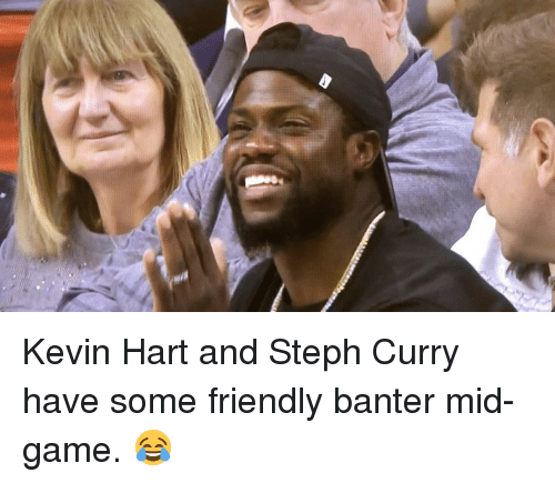 Basketball, Golden State Warriors, and Kevin Hart: Kevin Hart and Steph Curry have some friendly banter mid-game. 😂