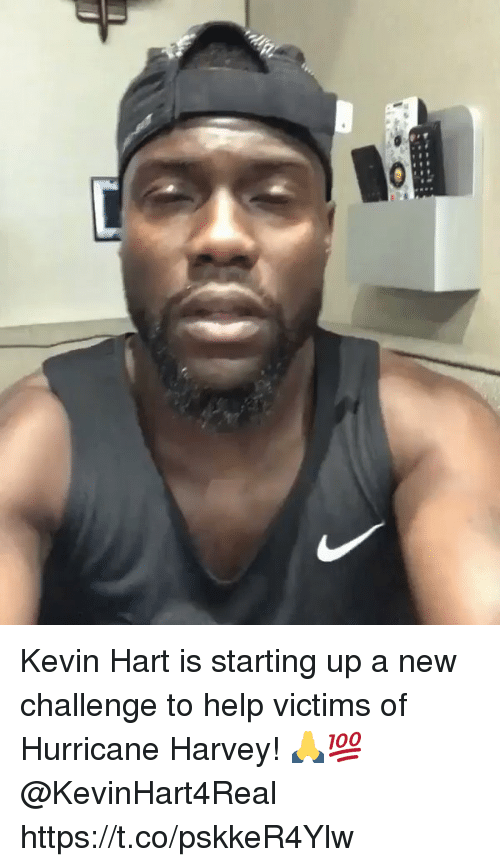 Kevin Hart, Help, and Hurricane: Kevin Hart is starting up a new challenge to help victims of Hurricane Harvey! 🙏💯 @KevinHart4Real https://t.co/pskkeR4Ylw