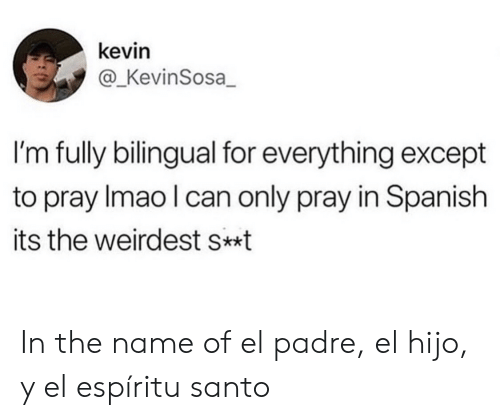 In Spanish: kevin  @_KevinSosa  I'm fully bilingual for everything except  to pray Imao I can only pray in Spanish  its the weirdest s*t In the name of el padre, el hijo, y el espíritu santo