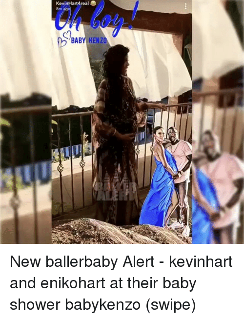 Memes, Shower, and Baby Shower: KevinHart4  8m  BABY KENZO New ballerbaby Alert - kevinhart and enikohart at their baby shower babykenzo (swipe)