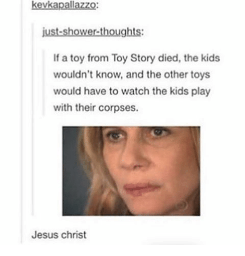Ironic, Shower, and Shower Thoughts: kevkapallazzo:  just-shower-thoughts:  If a toy from Toy Story died, the kids  wouldn't know, and the other toys  would have to watch the kids play  with their corpses.  Jesus Christ