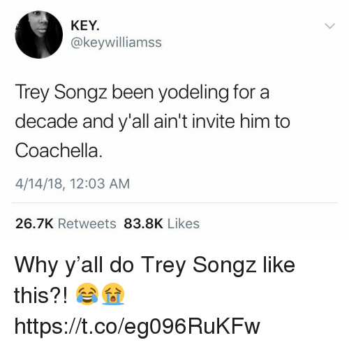 Coachella, Trey Songz, and Been: KEY  @keywilliamss  Trey Songz  decade and y'all ain't invite him to  Coachella.  4/14/18, 12:03 AM  been yodeling for a  26.7K Retweets 83.8K Likes Why y'all do Trey Songz like this?! 😂😭 https://t.co/eg096RuKFw