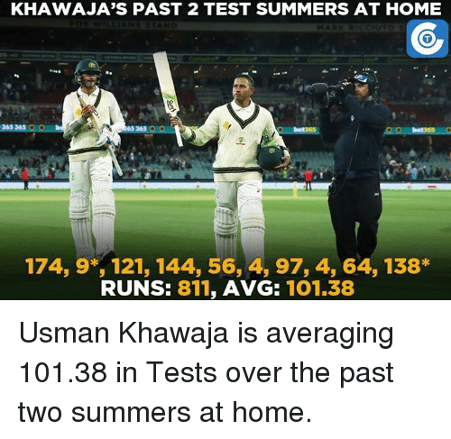 Usman Khawaja: KHAWAJA'S PAST 2 TEST SUMMERS AT HOME  365365  QUO  365 OO  174, 9*, 121, 144, 56, 4, 97, 4, 64, 138*  RUNS: 811  AVG:  101.38 Usman Khawaja is averaging 101.38 in Tests over the past two summers at home.