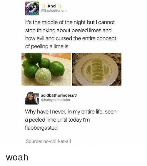 Chill, Life, and Memes: Khoi  @Exploditorium  It's the middle of the night but I cannot  stop thinking about peeled limes and  how evil and cursed the entire concept  of peeling a lime is  acidbathprincesst  @haleymichelleko  Why haveI never, in my entire life, seen  a peeled lime until today I'm  flabbergasted  Source: no-chill-at-all woah