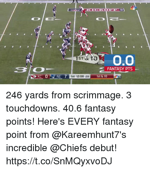 Memes, Chiefs, and 🤖: KICI OFF  2l  ST& PO  FANTASY PTS  KC  1st 12:08 :09  1st & 10 246 yards from scrimmage. 3 touchdowns. 40.6 fantasy points!  Here's EVERY fantasy point from @Kareemhunt7's incredible @Chiefs debut! https://t.co/SnMQyxvoDJ