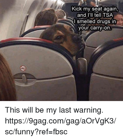 9gag, Dank, and Drugs: Kick my seat again,  and l'll tell TSA  I smelled drugs in  our carry-on This will be my last warning.  https://9gag.com/gag/aOrVgK3/sc/funny?ref=fbsc