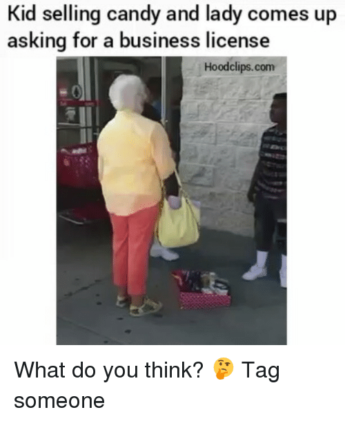 Candy, Funny, and Ups: Kid selling candy and lady comes up  asking for a business license  Hood clips.com What do you think? 🤔 Tag someone
