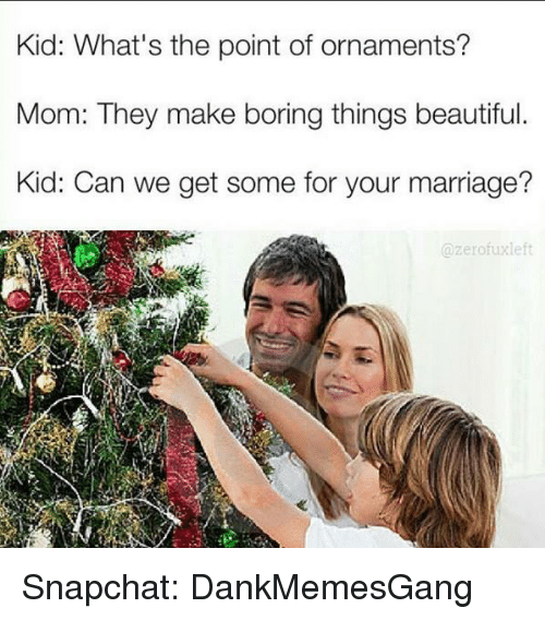 Fuxed: Kid: What's the point of ornaments?  Mom: They make boring things beautiful  Kid: Can we get some for your marriage?  zero fux left Snapchat: DankMemesGang