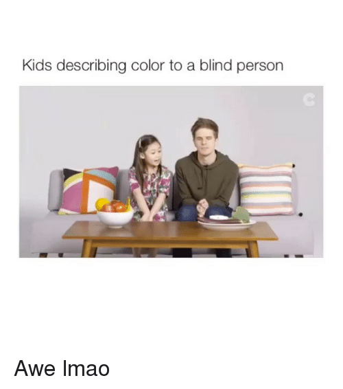 awe: Kids describing color to a blind person Awe lmao