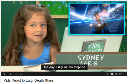 Death Stare: KIDS  SYDNEY  ALE 6  One day, Luigi will be stopped  1:02/5:58  Kids React to Luigi Death Stare