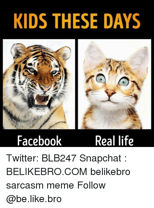 Be Like, Memes, and Sarcasm: KIDS THESE DAYS  Facebook  Real life Twitter: BLB247 Snapchat : BELIKEBRO.COM belikebro sarcasm meme Follow @be.like.bro