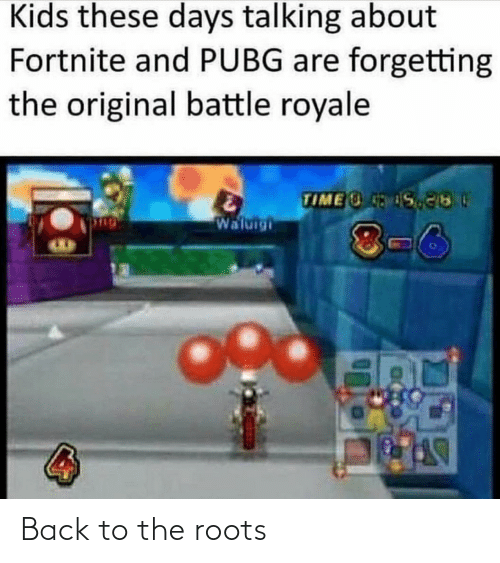 kids these days: Kids these days talking about  Fortnite and PUBG are forgetting  the original battle royale  TIME S  Waluigi  8-6 Back to the roots